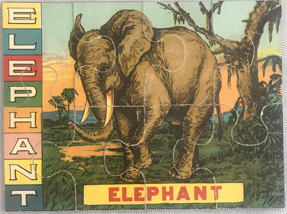 Five Early Animal Puzzles of Lion, Zebra, Elephant antique