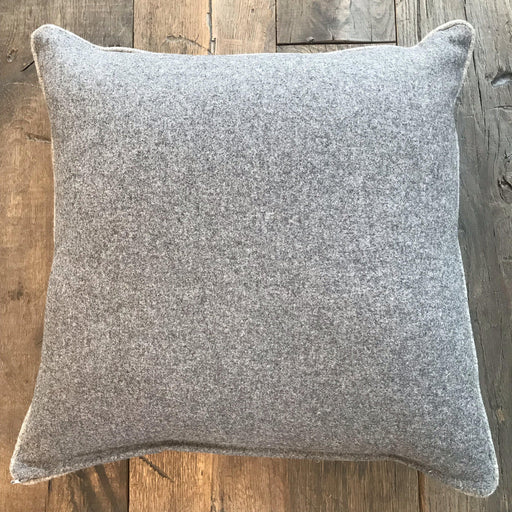 Designer British Traditional Gray Wool Flannel Pillow with Light Gray Contrasting Piping (New) for sale