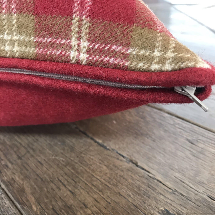 British Tartan Plaid PIllow with Red, Beige and White Tones