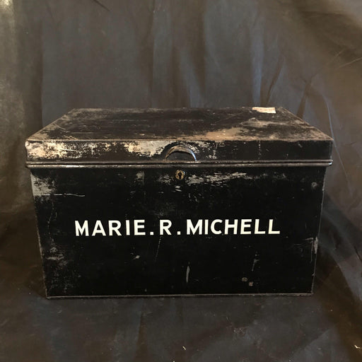 Antique British Metal Original Deed Box Marie. R. Michell