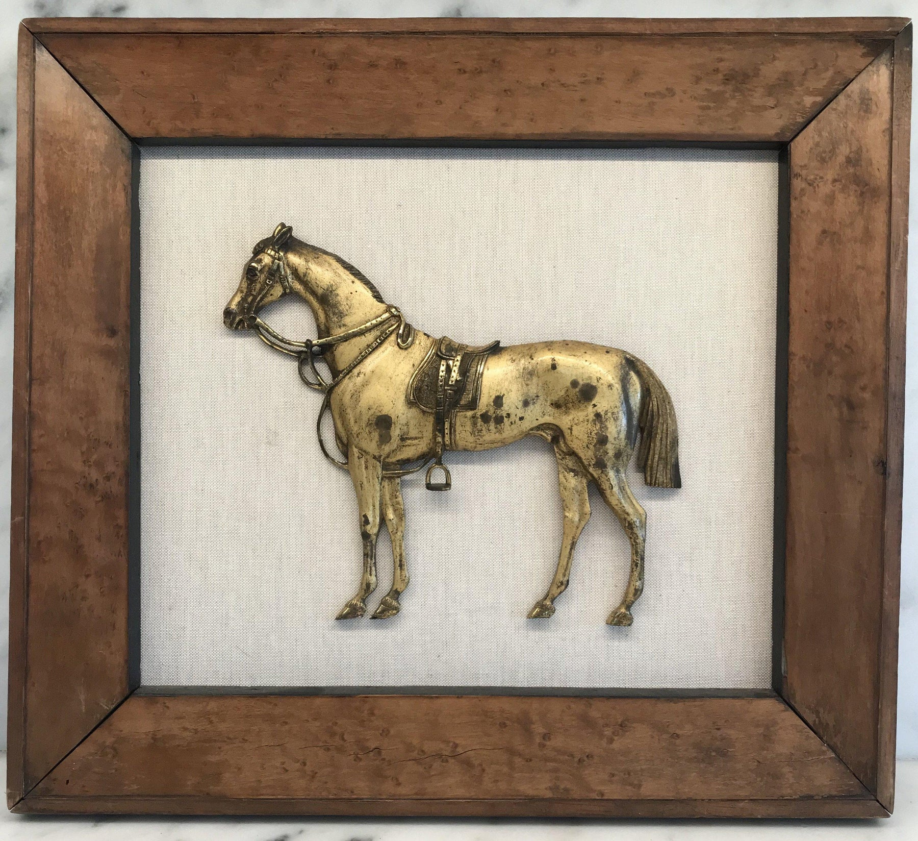 French Brass Horse in Burled Walnut Frame for sale