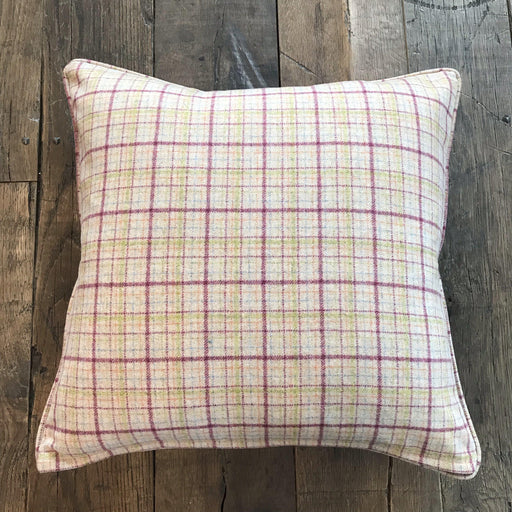Beautiful Spring British Wool Plaid Pillow with Piping (New) for sale