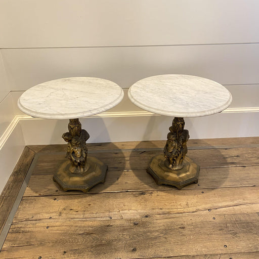 Pair of Italian Rococo Style Figural Marble Top Side Tables, Pedestals or Consoles with Gold Cherub Bases