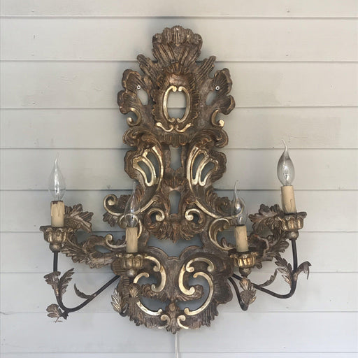 Large French Rococo Style Gold Giltwood Sconce
