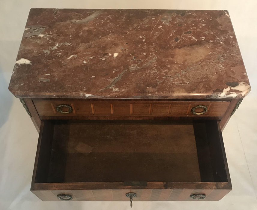 Antique French Inlaid Marquetry Three-Drawer Commode with Marble Top For Sale