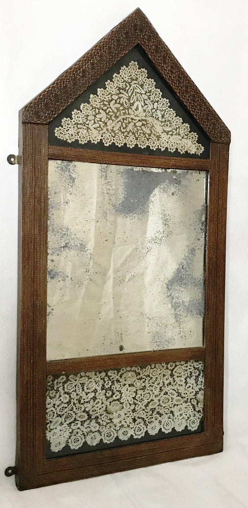 Intricate Early 17th/late 16th Century Marquetry/Inlaid Wood Checked Mirror for sale