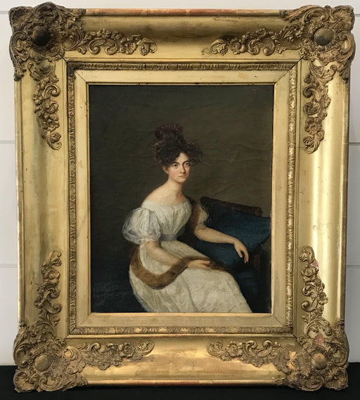 For sale: French Early Portrait of Seated Aristocratic Woman with Mink Stole