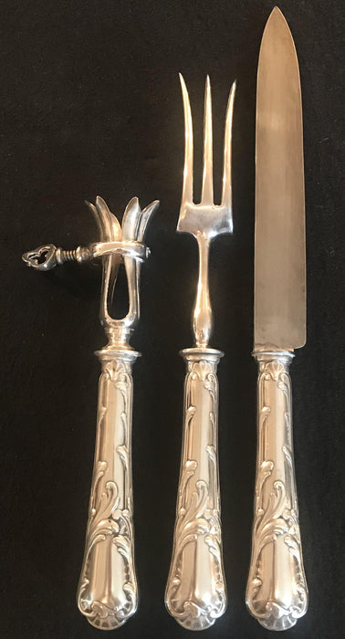 Three Piece Paris Christofle French Meat Serving Set in Original Box