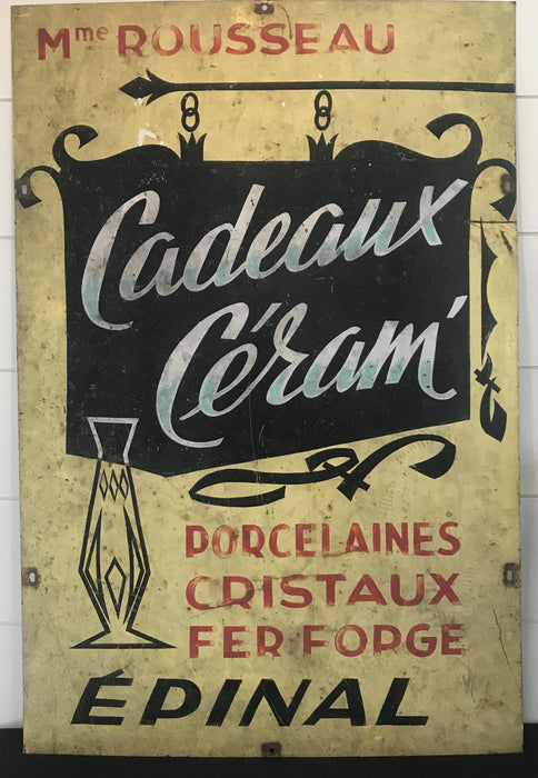Vintage French Two-Sided Store Sign: Vetements and Cadeaux Ceram