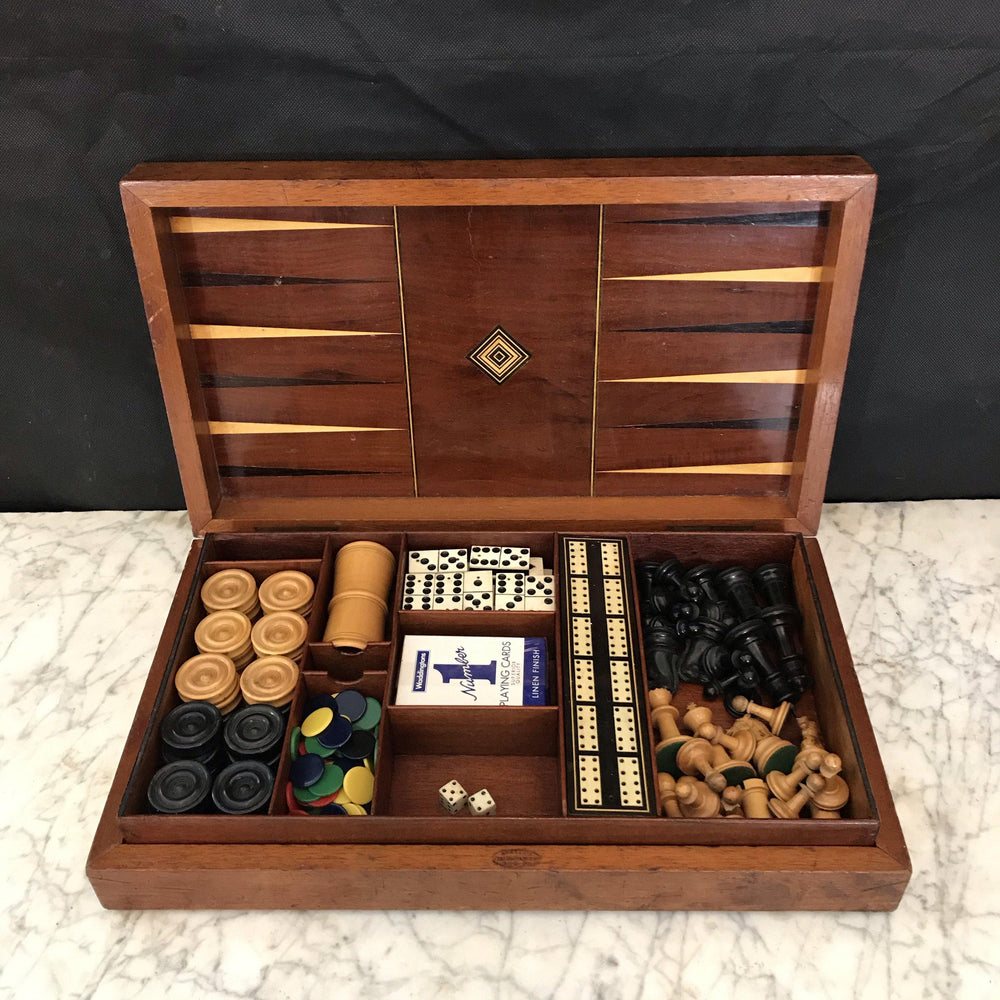 French Inlaid Game Board Boxed Set including Chess, Checkers, Dominos, Cribbage and Backgammon