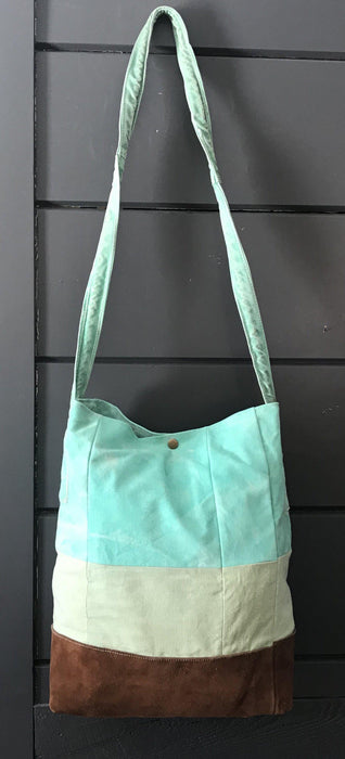British Artist-made Bag/Purse of vintage turquoise canvas tarpaulin with original handles for sale