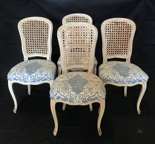 Set of Four 19th Century Early Italian Louis XV Painted Chairs