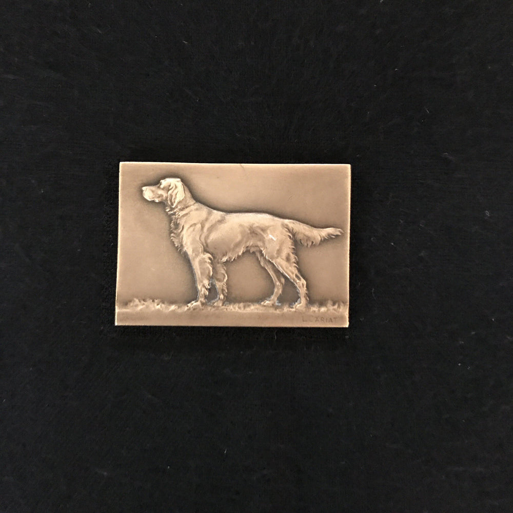 french dog medal bronze for sale Signed French Dog Medal: Bronze showing a Setter/Retreiver
