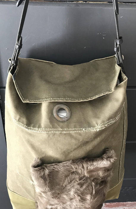 Purse/Bag: RAF Military Kit Bag, Bridle leather handle, leather bottom and fur pocket to sell