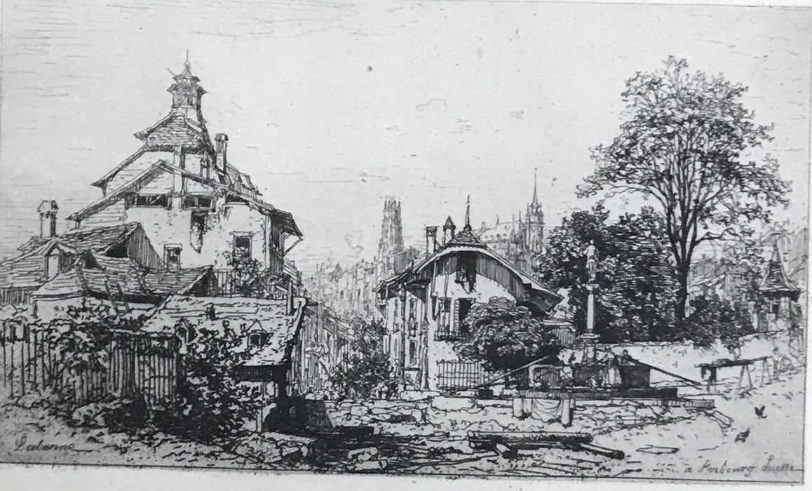 Early Artist Engraving of Fribourg Switzerland Scene for sale