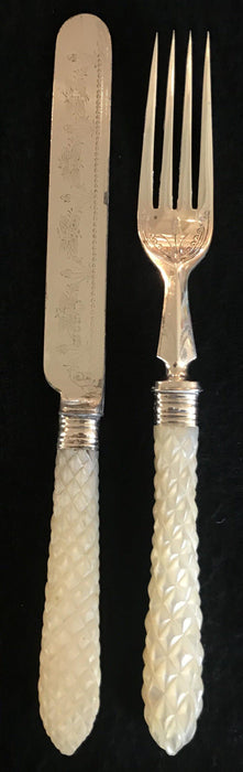 French Early Mother of Pearl Knife/Fork Set Gorgeous! for sale