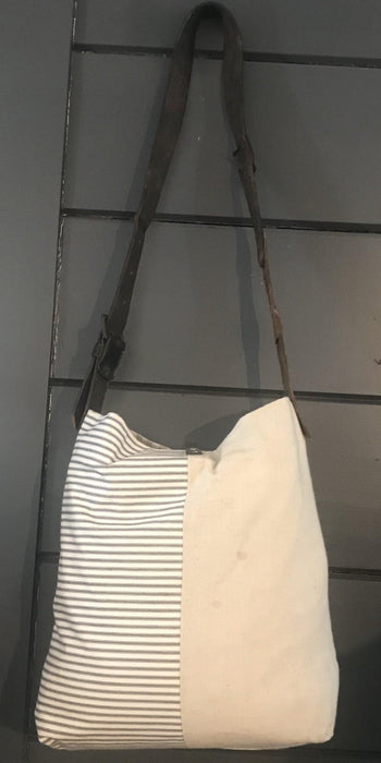 Purse or handbag British vintage flour cotton Purse / bag, with French ticking and vintage leather belt strap to sell