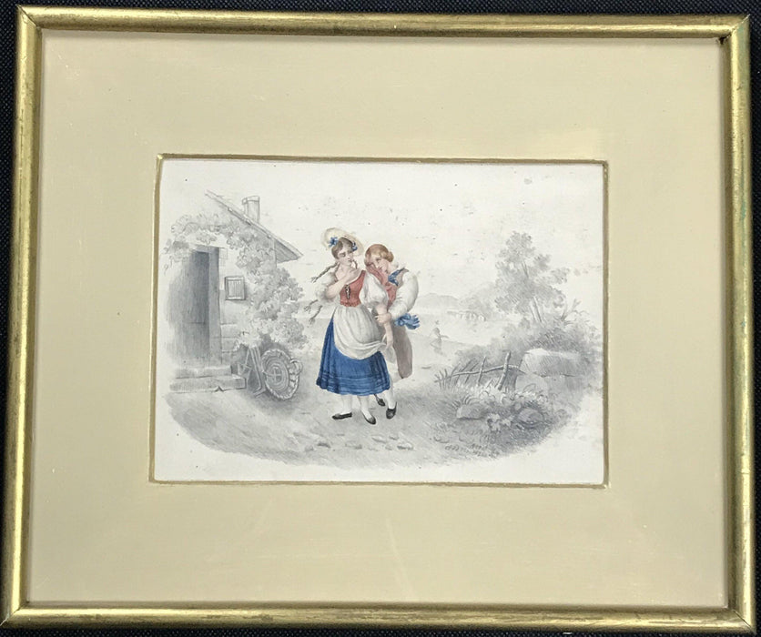 Early British art dated 1827, H. Hall, antique artist watercolor pencil drawing