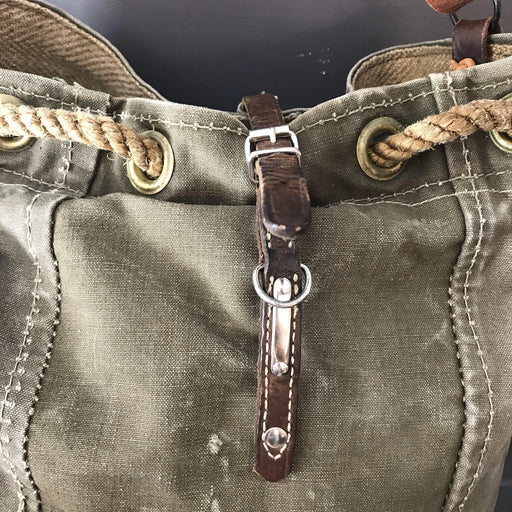 Buy this British Military Tent Purse/Bag Wooden Toggles, Plaid Lining with Vintage Flour Bag Pocket and Leather Ruffle Strap and Vintage Dog Collar Closure