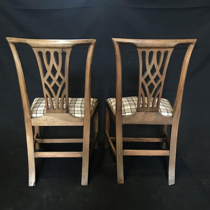 Gorgeous Early British Chairs Newly Reupholstered in Neutral British Tartan