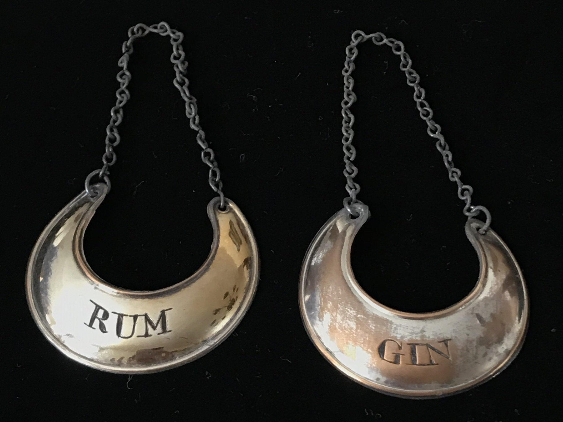 Pair of British 1780 Silver Sheffield Labels: Rum and Gin for sale