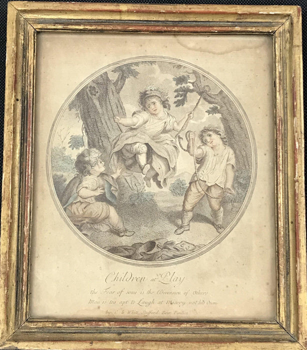 "18th Century British ""Children at Play"" Hand Colored print for sale"