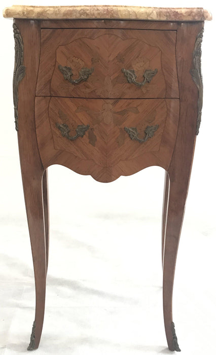 Pair of French Inlaid Two-Drawer Marble Top Nightstands Buy This