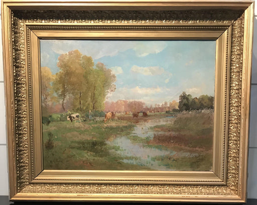 Antique French Impressionist Oil Painting by listed Artist J. L. Million: Country Scene (pairs with 5704)