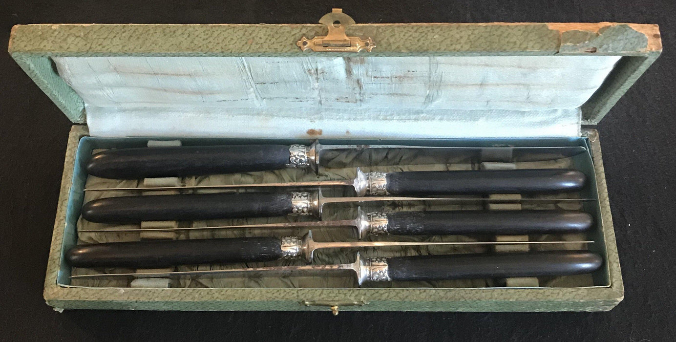 Paris 1888 French Ebony Dinner Knife Set in case for sale