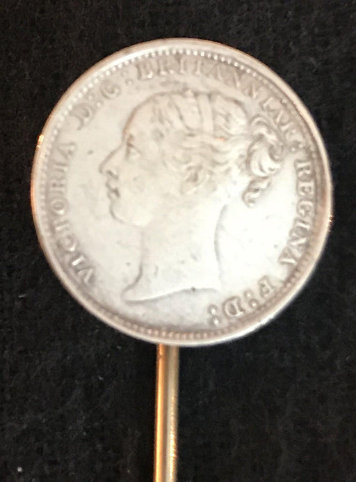Antique British Coin Victoria Hat Pin
