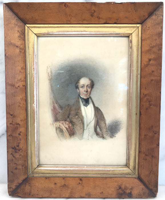 Early British Georgian Watercolor of Gentleman Unsigned for sale