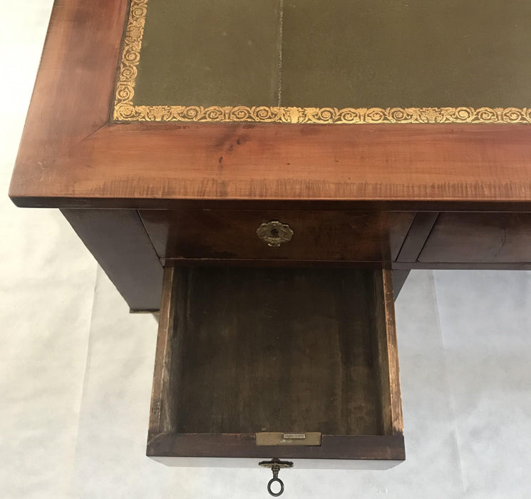 gorgeous 19th Century French Dual Sided Empire Style Pedestal Leg Desk