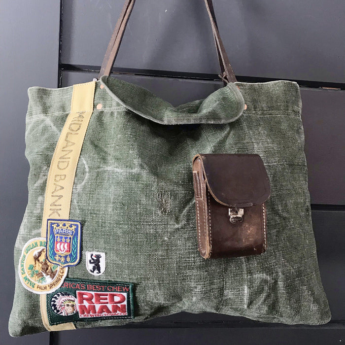 Buy this gorgeous British Military Duffle/Midland Bank Bag with Vintage Camera Case Pocket, Bridle Reins and British Patches