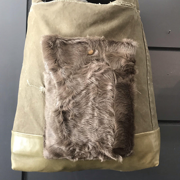Purse/Bag: RAF Military Kit Bag, Bridle leather handle, leather bottom and fur pocket to buy
