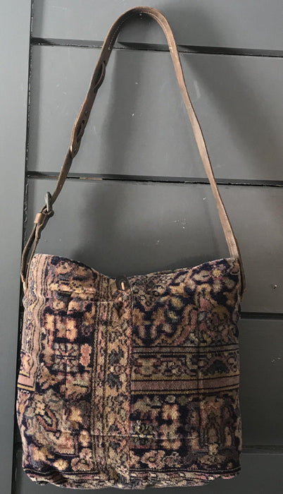 Original Classic vintage chenille Purse/carpet bag, with vintage leather buckle and military bridle strap for sale