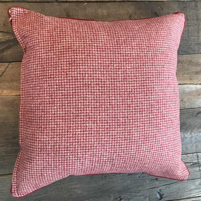 Niki British Red Wool Houndstooth Pillow with Red Piping to sell
