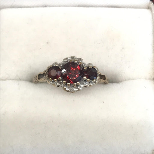 British Garnet Ring With Diamonds