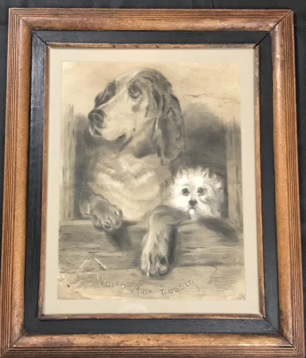 "British dog art signed dated 1887 ""Waiting for Jessie"" original, beagle and smaller dog antique"