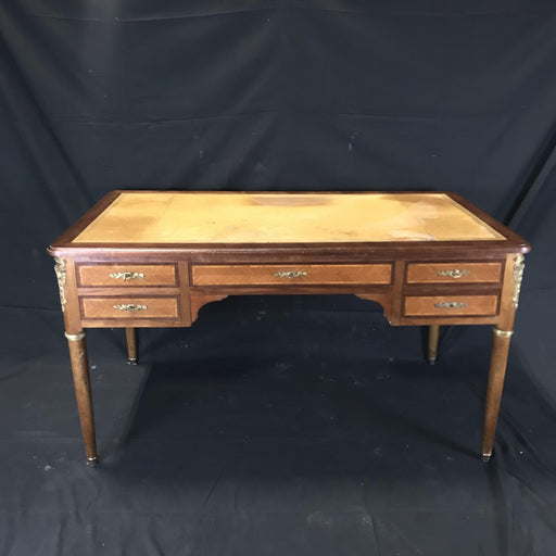 19th Century French Walnut Louis XVI Desk with Original Leather Writing Surface