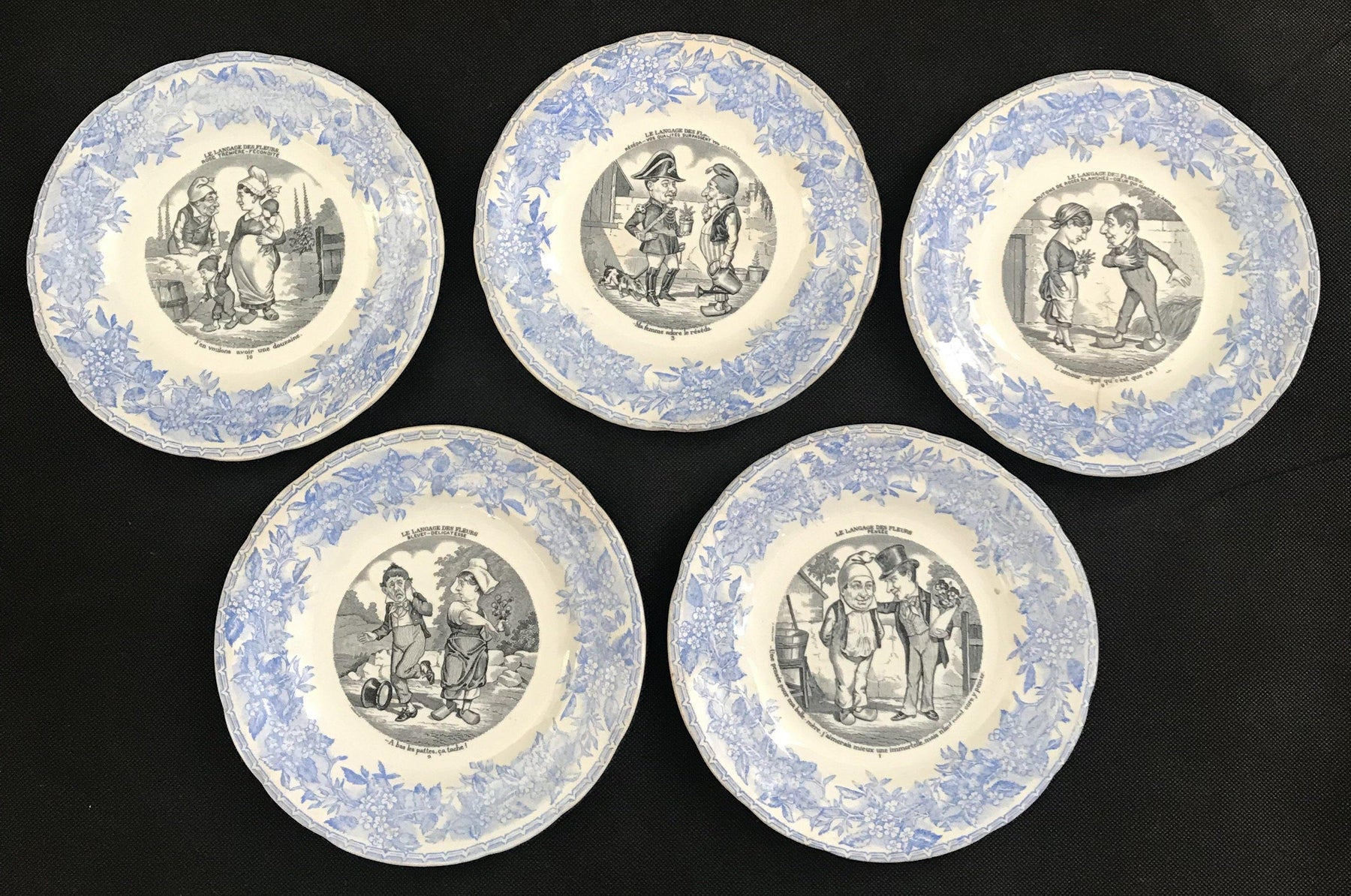 Set of Five French Plates - Language of Flowers/Le Langage des Fleurs - Humorous! for sale