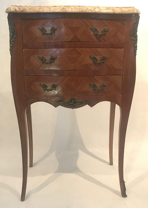 French Inlaid Marble Top Nightstands with Three Drawers