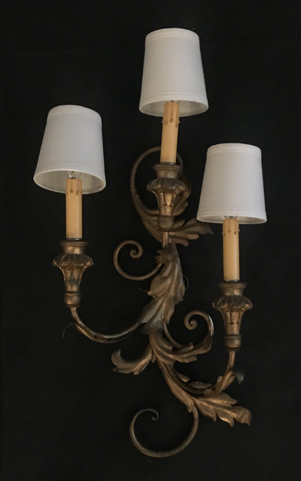 Antique Italian Gold Gilt Painted Wall Sconce Light