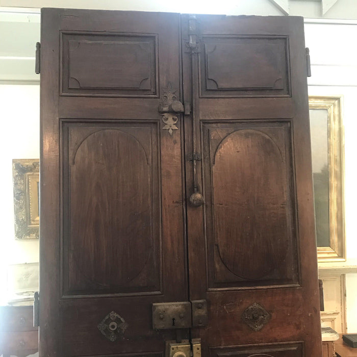 Set of Four (Two Pairs) French Walnut Doors from Early 1800s with Original Bronze Hardware