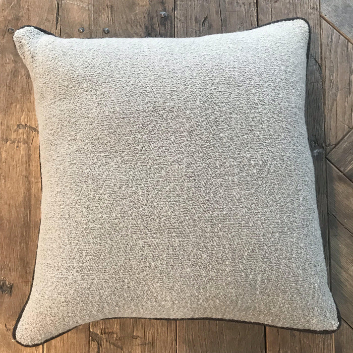 British Wool Chenille Pillow with Gray Flannel Contrast Piping (New) to buy