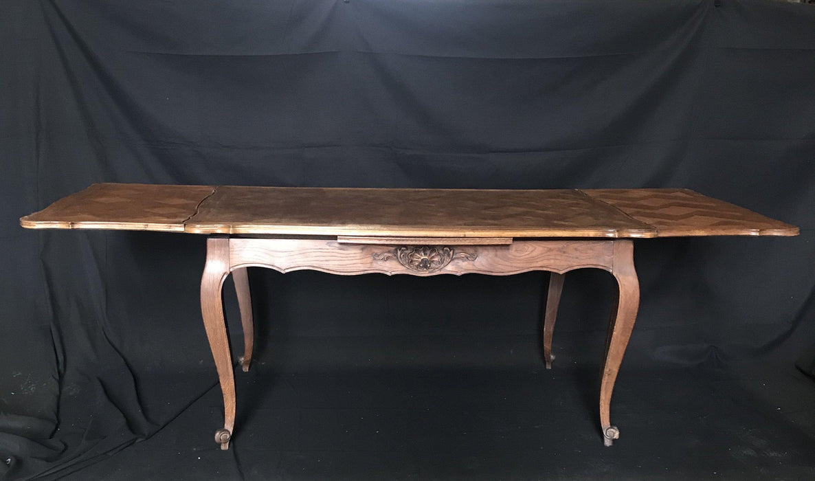 French Carved Extending Parquetry Dining Table
