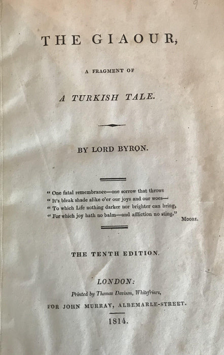 "For sale: Antique 1814 Vellum bound Lord Byron Book ""The Giaour"""