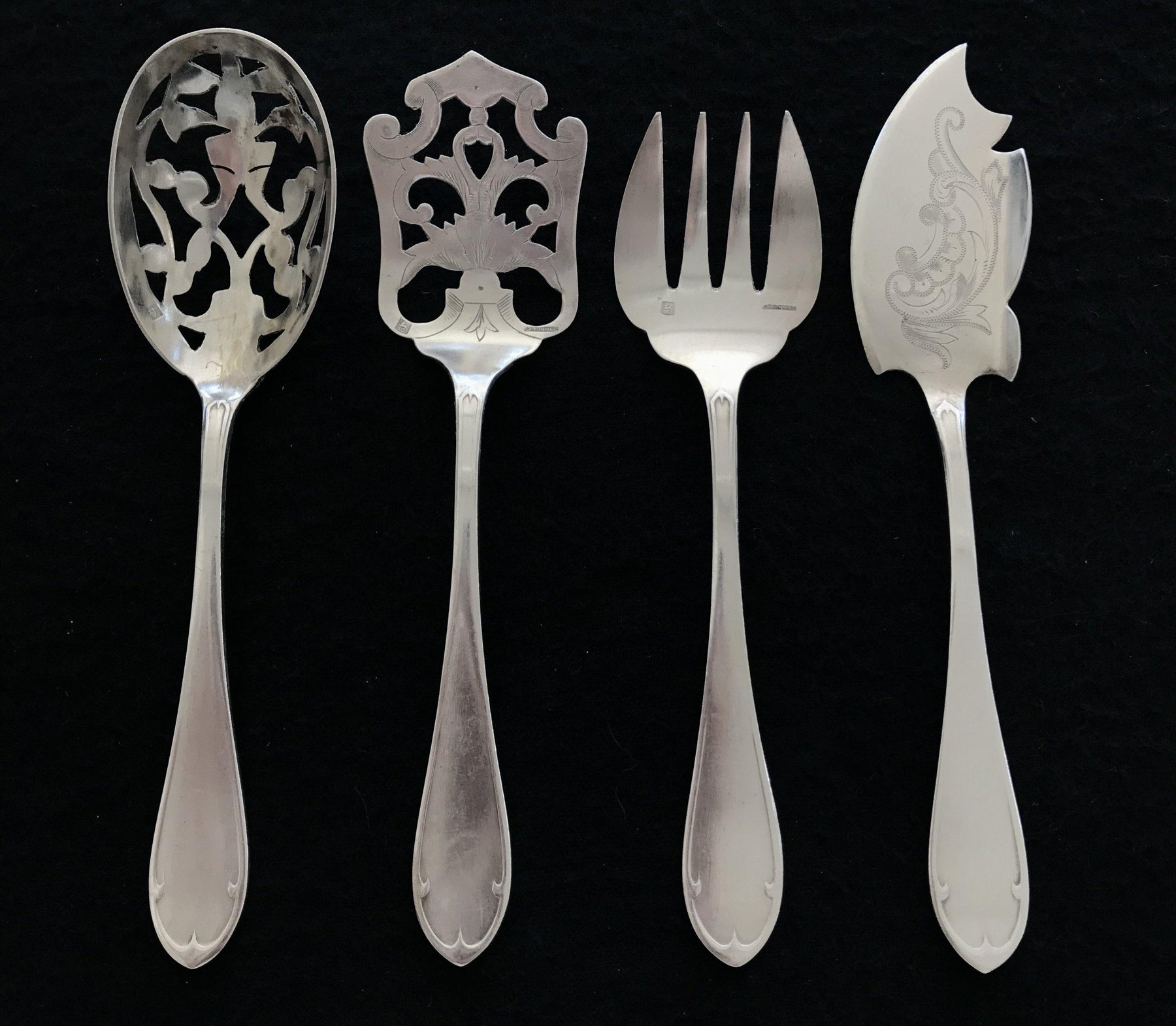 For Sale: French Silver Four Piece Hors D'oeuvres Set (Ercuis)