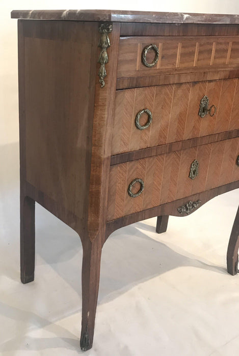 French Inlaid Marquetry Three-Drawer Commode with Marble Top For Sale