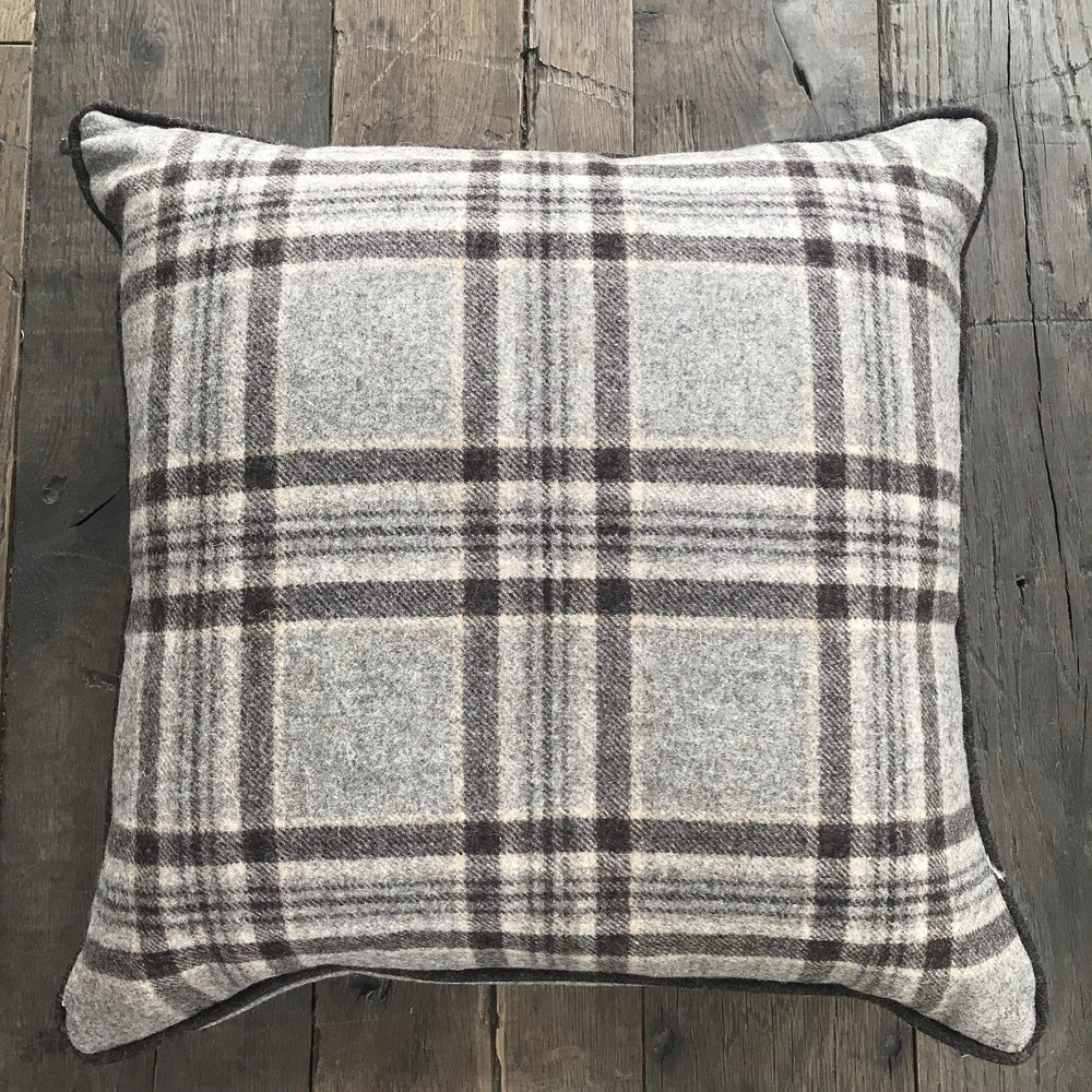 British Browns Tartan Plaid Wool Pillow with Contrast Piping (New) for sale