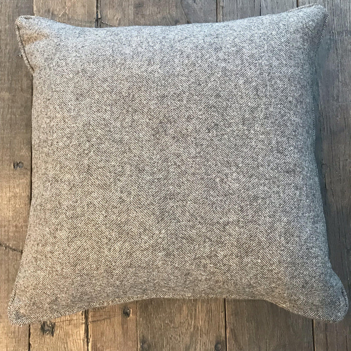 For sale: Gorgeous high quality British Gray Wool Herringbone Pillow (New)